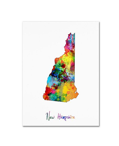 "Trademark Global Michael Tompsett 'New Hampshire Map' Canvas Art - 18"" x 24"""