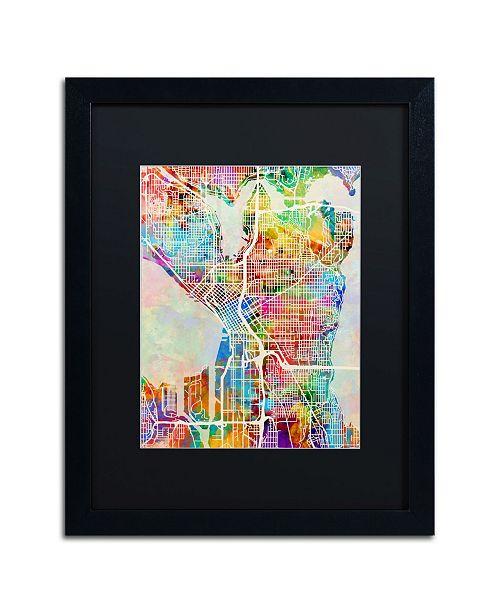 "Trademark Global Michael Tompsett 'Seattle Washington Street Map' Matted Framed Art - 16"" x 20"""