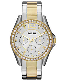 Fossil Women's Riley Two Tone Stainless Steel Bracelet Watch 38mm