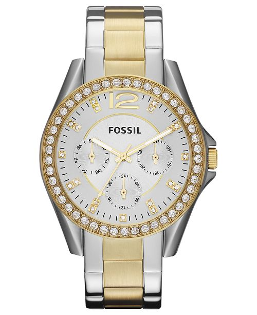 3231afe7874 ... Fossil Women s Riley Two Tone Stainless Steel Bracelet Watch 38mm ES3204  ...