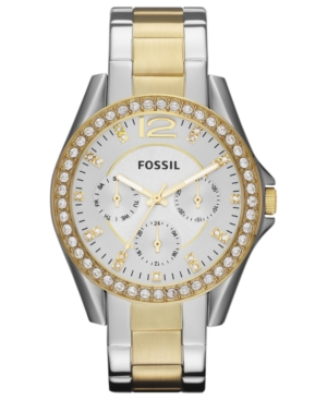 Fossil Women's Riley Two Tone Stainless Steel Bracelet Watch 38mm ES3204