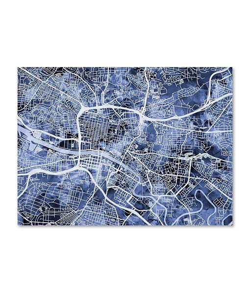 "Trademark Global Michael Tompsett 'Glasgow Street Map B&W' Canvas Art - 24"" x 32"""