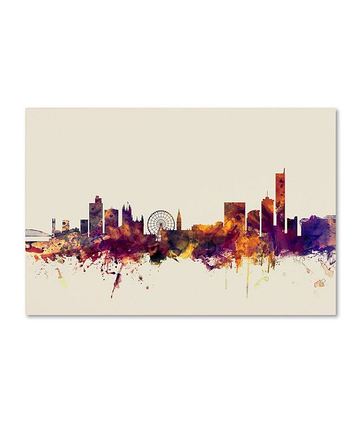 "Trademark Global Michael Tompsett 'Manchester England Skyline' Canvas Art - 22"" x 32"""