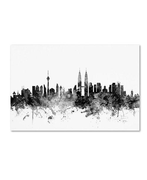 "Trademark Global Michael Tompsett 'Kuala Lumpur Skyline B&W' Canvas Art - 30"" x 47"""
