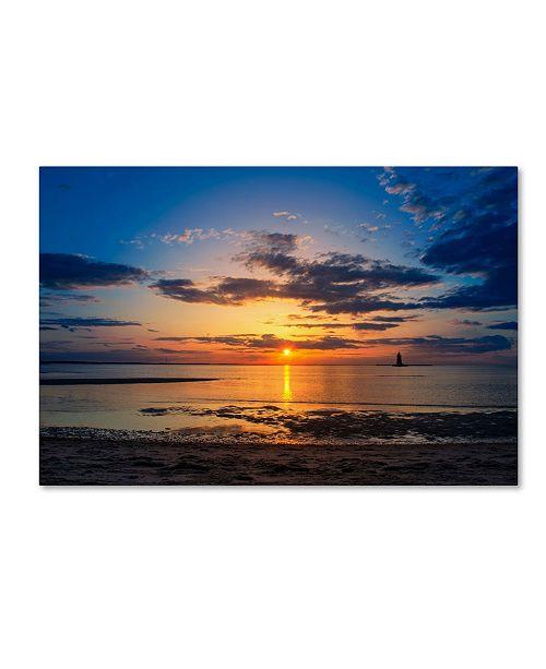 "Trademark Global PIPA Fine Art 'Sunset Breakwater Lighthouse' Canvas Art - 30"" x 47"""
