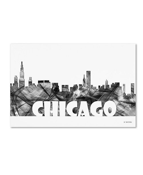 "Trademark Global Marlene Watson 'Chicago Illinois Skyline BG-2' Canvas Art - 30"" x 47"""