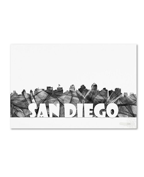 "Trademark Global Marlene Watson 'San Diego California Skyline BG-2' Canvas Art - 30"" x 47"""