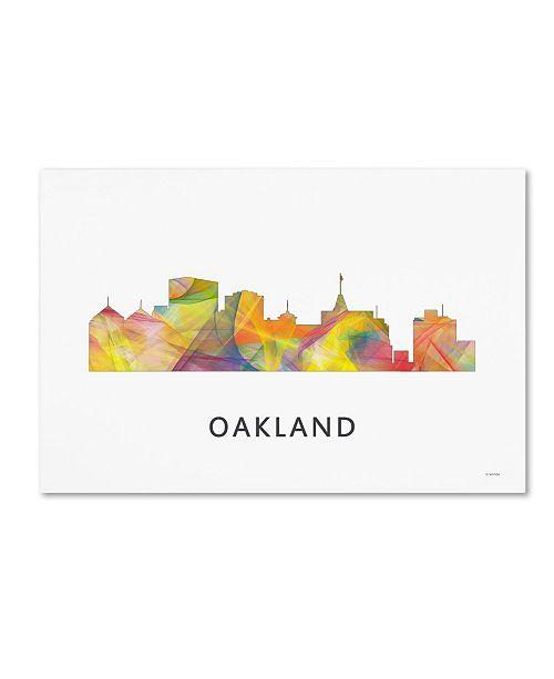"Trademark Global Marlene Watson 'Oakland California Skyline WB-1' Canvas Art - 30"" x 47"""