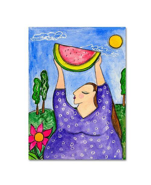 "Trademark Global Wyanne 'Big Diva With Watermelon' Canvas Art - 35"" x 47"""