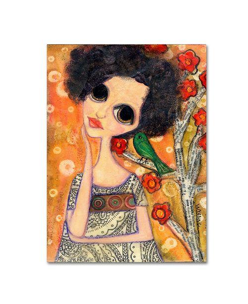 "Trademark Global Wyanne 'Big Eyed Girl A Birdy Told Me' Canvas Art - 35"" x 47"""
