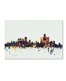 "Michael Tompsett 'Detroit Michigan Skyline' Canvas Art - 30"" x 47"""