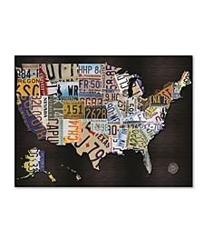 "Masters Fine Art 'USA License Plat Map on Black Wood' Canvas Art - 35"" x 47"""