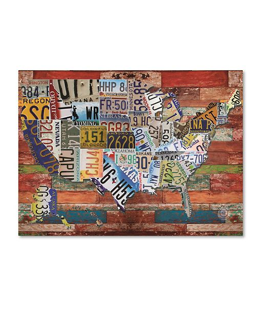 """Trademark Global Masters Fine Art 'USA License Plate on Colorful Wood' Canvas Art - 35"""" x 47"""""""