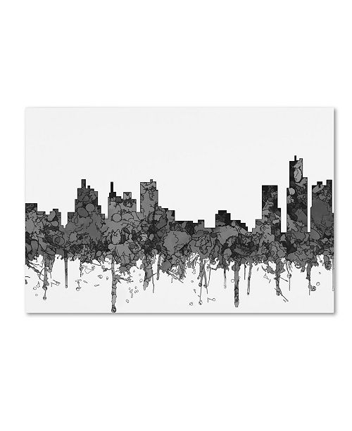 "Trademark Global Marlene Watson 'Detroit Michigan Skyline BW' Canvas Art - 30"" x 47"""