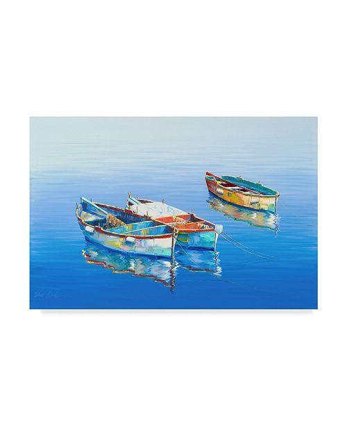 "Trademark Global Edward Park 'Two Blue Boats' Canvas Art - 22"" x 32"""