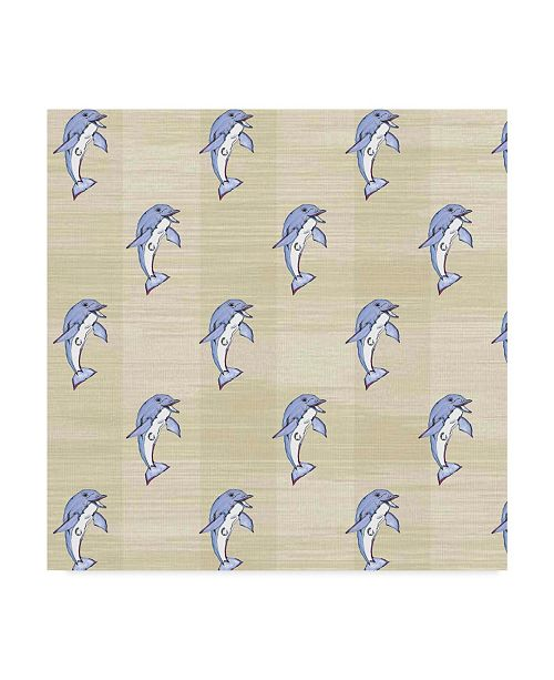 """Trademark Global Jessmessin 'Dolphins Natural' Canvas Art - 24"""" x 24"""""""