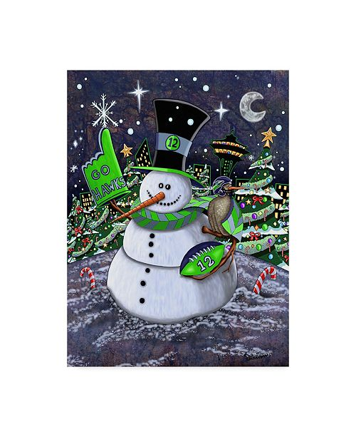 "Trademark Global Jake Hose 'Jolly Hawk Snowman' Canvas Art - 35"" x 47"""