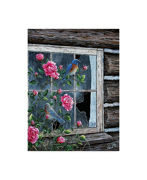 "Trademark Global Jeff Tift 'Roses Bluebirds' Canvas Art - 24"" x 32"""