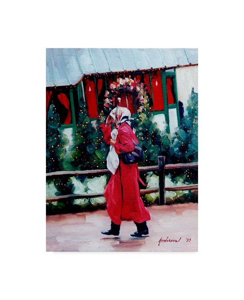 """Trademark Global Robin Anderson 'Red Coat And Santa House' Canvas Art - 35"""" x 47"""""""