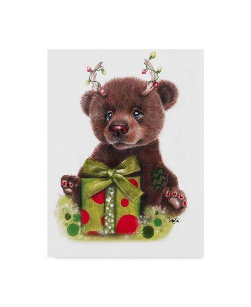 "Trademark Global Sheena Pike Art And Illustration 'Bruno Bear, Rudolph Fan' Canvas Art - 35"" x 47"""