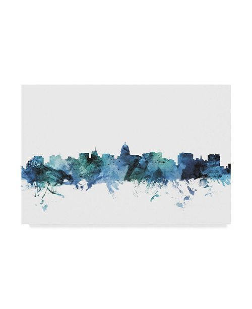 "Trademark Global Michael Tompsett 'Madison Wisconsin Blue Teal Skyline' Canvas Art - 24"" x 16"""