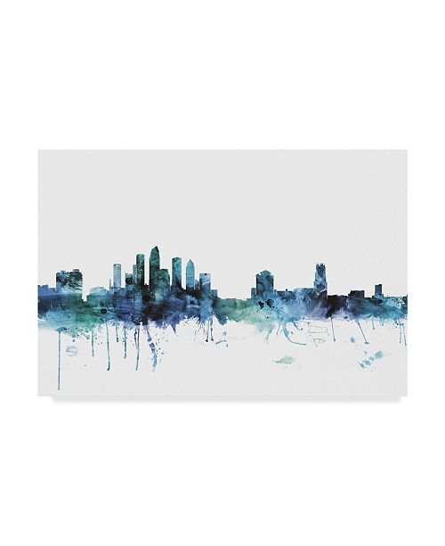 "Trademark Global Michael Tompsett 'Tampa Florida Blue Teal Skyline' Canvas Art - 47"" x 30"""