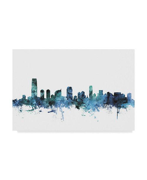 """Trademark Global Michael Tompsett 'Jersey City New Jersey Blue Teal Skyline' Canvas Art - 47"""" x 30"""""""