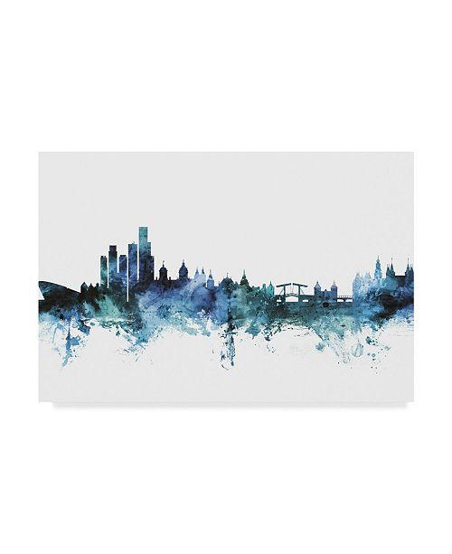 "Trademark Global Michael Tompsett 'Amsterdam Blue Teal Skyline' Canvas Art - 47"" x 30"""