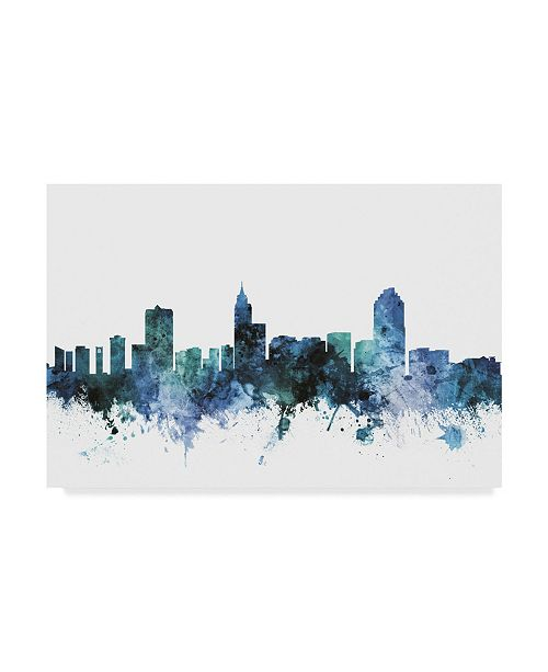 "Trademark Global Michael Tompsett 'Raleigh North Carolina Blue Teal Skyline' Canvas Art - 32"" x 22"""