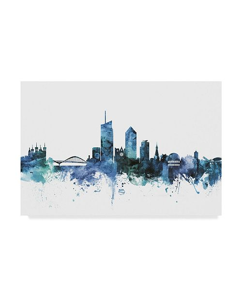 "Trademark Global Michael Tompsett 'Lyon France Blue Teal Skyline' Canvas Art - 24"" x 16"""
