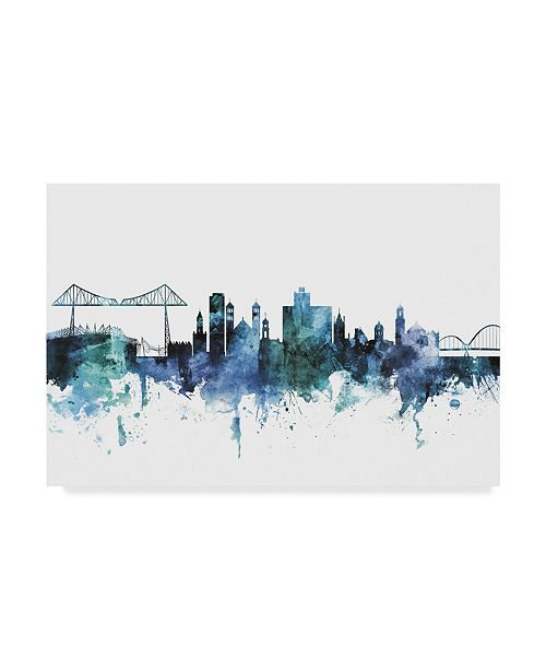 "Trademark Global Michael Tompsett 'Middlesbrough England Blue Teal Skyline' Canvas Art - 32"" x 22"""