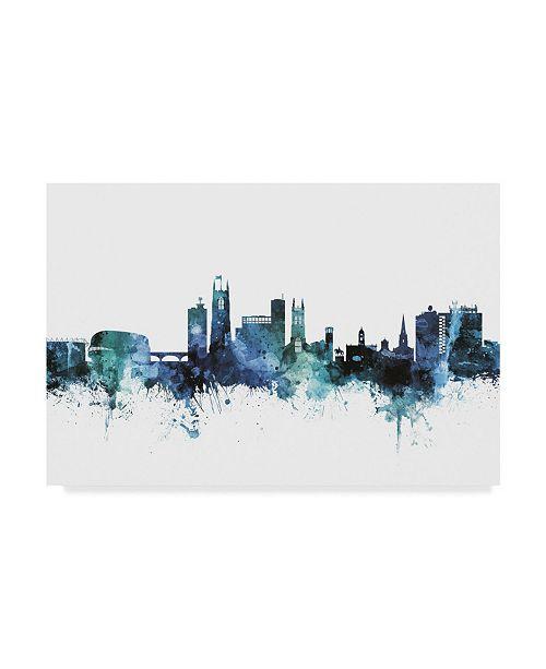 "Trademark Global Michael Tompsett 'Derby England Blue Teal Skyline' Canvas Art - 32"" x 22"""
