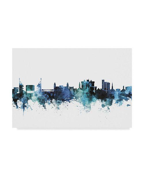 "Trademark Global Michael Tompsett 'Fayetteville Arkansas Blue Teal Skyline' Canvas Art - 47"" x 30"""