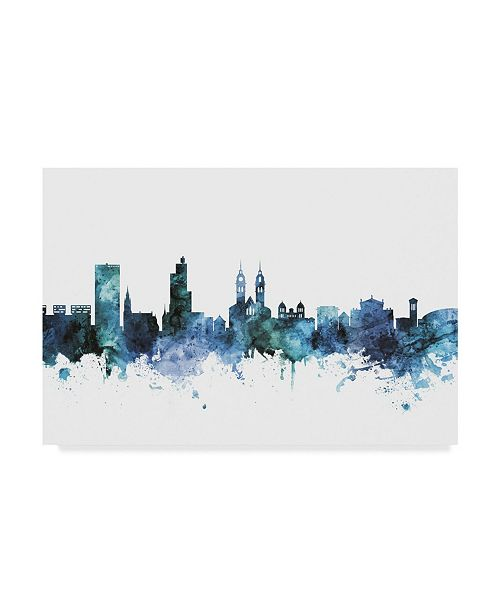 "Trademark Global Michael Tompsett 'Winterthur Switzerland Blue Teal Skyline' Canvas Art - 24"" x 16"""