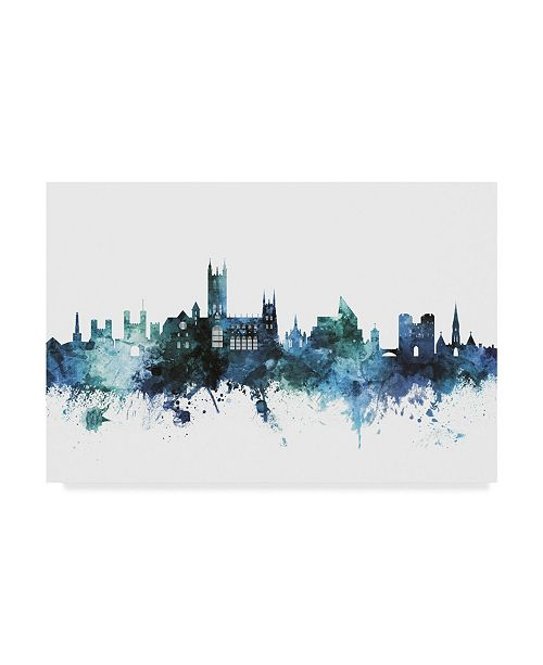 "Trademark Global Michael Tompsett 'Canterbury England Blue Teal Skyline' Canvas Art - 32"" x 22"""