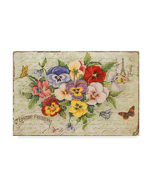 """Trademark Global Jean Plout 'Pansies And Butterflies' Canvas Art - 32"""" x 22"""""""