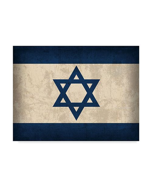 "Trademark Global Red Atlas Designs 'Israel Distressed Flag' Canvas Art - 32"" x 24"""