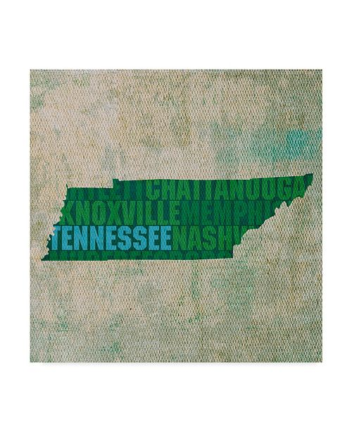 """Trademark Global Red Atlas Designs 'Tennessee State Words' Canvas Art - 24"""" x 24"""""""