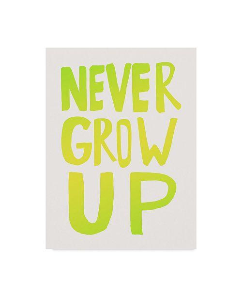 "Trademark Global Leah Flores 'Never Grow Up Green' Canvas Art - 35"" x 47"""