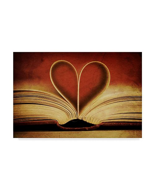 """Trademark Global Tom Quartermaine 'Book Pages In Heart Shape' Canvas Art - 47"""" x 30"""""""