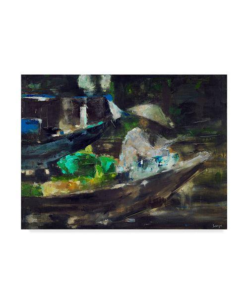 "Trademark Global Solveiga 'Green Boat' Canvas Art - 47"" x 35"""