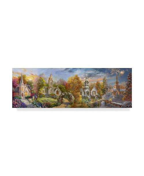 "Trademark Global Nicky Boehme 'A Church For All Seasons' Canvas Art - 24"" x 8"""