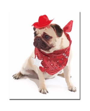 "Gifty Idea Greeting Cards and Such! 'Pug Cowboy' Canvas Art - 32"" x 26"""