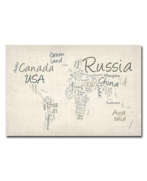 "Trademark Global Michael Tompsett 'Typography World Map' Canvas Art - 24"" x 16"""