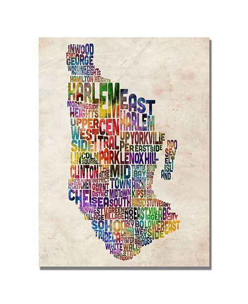 "Trademark Global Michael Tompsett 'Manhatan Typography Map' Canvas Art - 47"" x 30"""