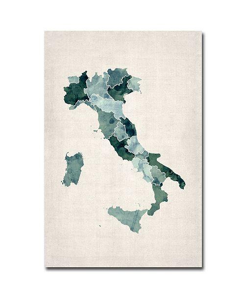 "Trademark Global Michael Tompsett 'Italy Watercolor Map' Canvas Art - 32"" x 22"""
