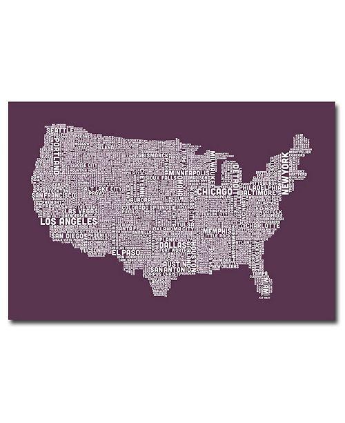 "Trademark Global Michael Tompsett 'US City Map IV' Canvas Art - 32"" x 22"""