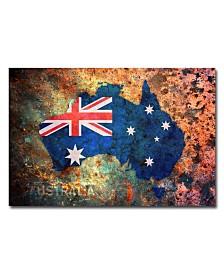 "Michael Tompsett 'Australia Flag Map' Canvas Art - 32"" x 22"""