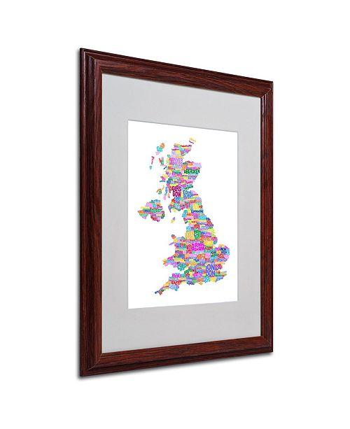"""Trademark Global Michael Tompsett 'UK Cities Text Map 3' Matted Framed Art - 20"""" x 16"""""""