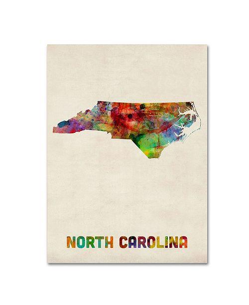 "Trademark Global Michael Tompsett 'North Carolina Map' Canvas Art - 32"" x 24"""